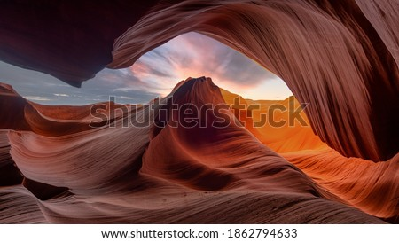 Antelope Canyon - abstract background. Travel and nature concept. Royalty-Free Stock Photo #1862794633
