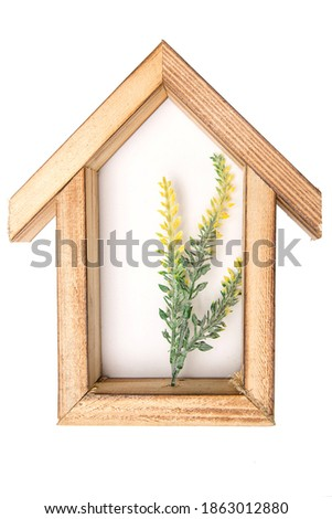 wooden hexagonal wall decorative   frame with an artificial flower in the center. on a white isolated background.