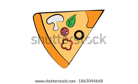 Slice of pizza with salami olive and meadow . clip art fast food illustration.