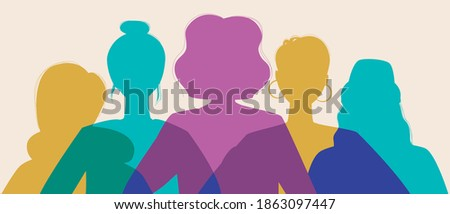 Women silhouette head isolated. Modern feminist vector stock illustration. Concept for equality, international women's day, activism, feminism. Silhouette illustration with feminist women Royalty-Free Stock Photo #1863097447