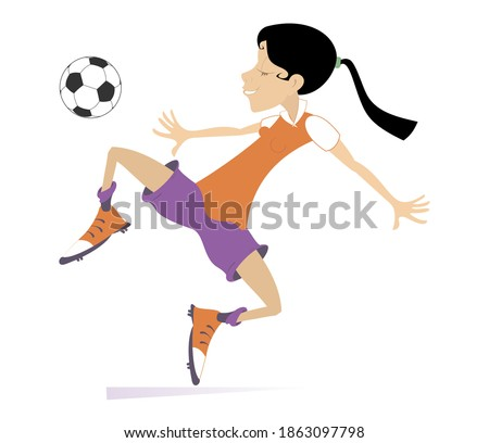 Smiling young woman playing football isolated illustration. Cartoon football player woman beats a ball isolated on white
