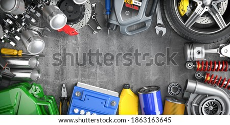 Car parts, spares and accesoires. Auto service and car repair workshop concept. 3d illustration Royalty-Free Stock Photo #1863163645