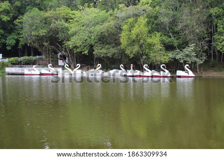 artificial lake with swan-shaped paddleboat and trees around #1863309934