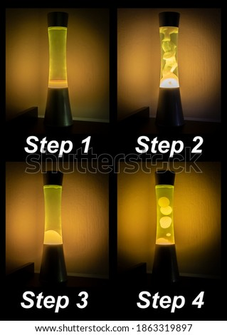 In this picture we can see the course of a lava lamp in four steps. We see the 4 phases of development after we have switched on the lava lamp.