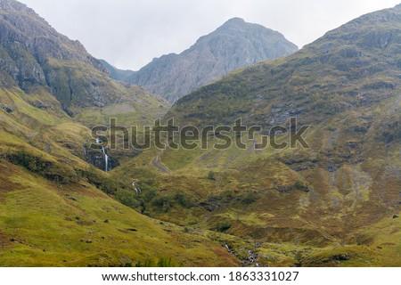 Mountainous landscape in Glen Coe National Nature Reserve area in Scotland.  #1863331027