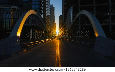 Sunrise between towers in downtown Austin, TX