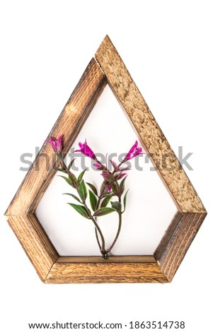 wooden wall decorative  frame in the shape of a pentagon with an artificial flower in the center. on a white isolated background.