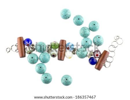 Turquoise bracelet isolated on white background #186357467