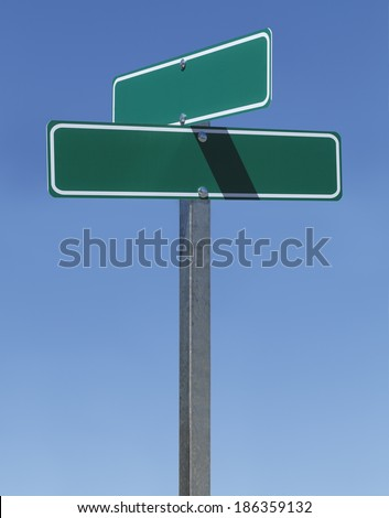 Two Green Street Signs on Metal Pole With Copy Space with Blue Sky.
