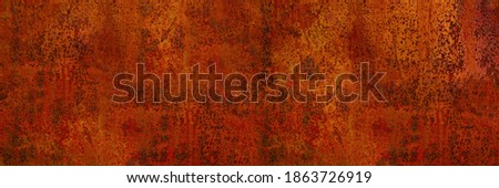 Rusty metal background. Rust texture. Orange red brown abstract background. Bright rough textured background. Wide banner. Royalty-Free Stock Photo #1863726919