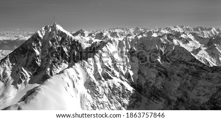 Pyrenees mountains in winter and the Pic du Midi
