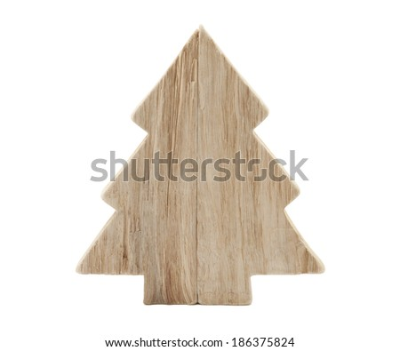 Wooden Christmas tree shape with clipping path