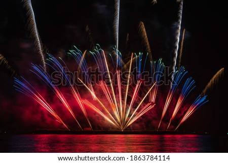 Multi colored fireworks at night