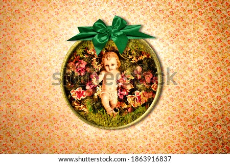 Baby Jesus Vintage Christmas Postcard. Photograph of baby jesus in a gold frame with green bow on vintage style wall