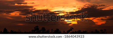 Beautiful sunset sky. Cloudscape. Golden sunset above silhouette tree. Panorama view of dark clouds and orange sky. Beauty in nature. Dramatic sunset sky. Heaven sky. Dusk and dawn concept.  Royalty-Free Stock Photo #1864043923