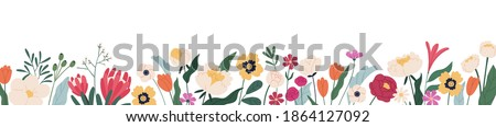 Horizontal white banner or floral backdrop decorated with gorgeous multicolored blooming flowers and leaves border. Spring botanical flat vector illustration on white background Royalty-Free Stock Photo #1864127092