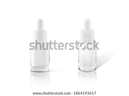 blank packaging glass dropper serum bottle isolated on white background with clipping path ready for cosmetic product design mockup