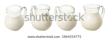 Set of milk jars isolated on white background. Different angles. Package design element with clipping path Royalty-Free Stock Photo #1864254775