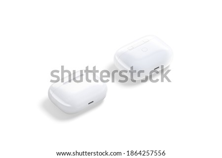 Blank white small case mock up, isolated, front and back, 3d rendering. Empty audio gadget with portable casing mockup, side view. Clear headphones connection accessory template.