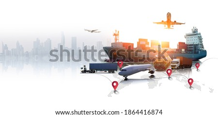 Global business of Container Cargo freight train for Business logistics concept, Air cargo trucking, Rail transportation and maritime shipping, Online goods orders worldwide Royalty-Free Stock Photo #1864416874