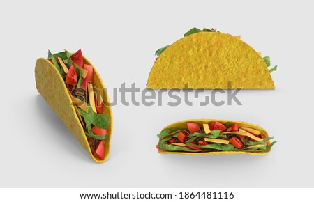set of crunchy taco cutout. Mexican food taco collection. beef tomatoes avocado chilli onions. clipping mask. different angles, top side perspective view isolated on white background 3d illustration