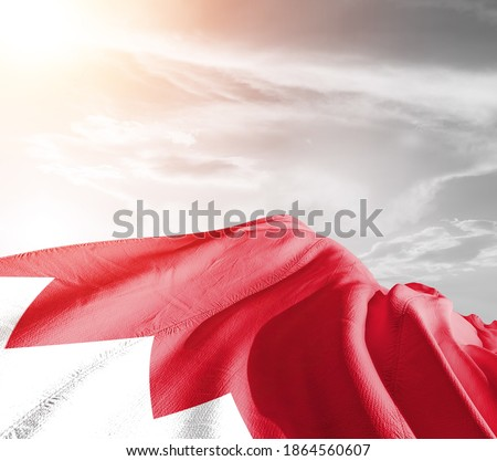 Bahrain national flag cloth fabric waving on beautiful sky background. Royalty-Free Stock Photo #1864560607