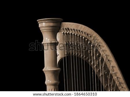 Harp music. Harp instrument closeup. Detail of musical instrument Royalty-Free Stock Photo #1864650310