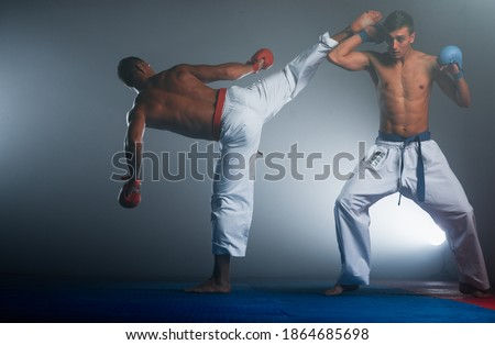 An athlete with a red belt and in karategi performs a formal karate exercise Royalty-Free Stock Photo #1864685698