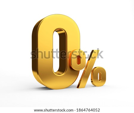Golden zero percent or 0 % special Offer. Isolated over white background. 3D rendering. 3D illustration.
