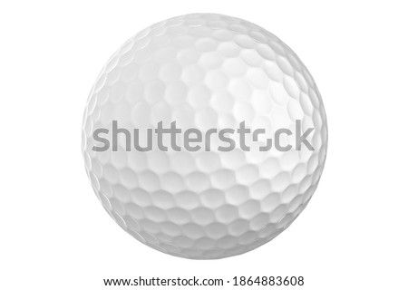 White golf ball on a white background. A sport played by people all over the world