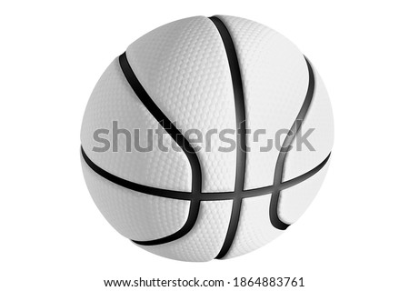 White basketball ball on a white background. A sport played by people all over the world.