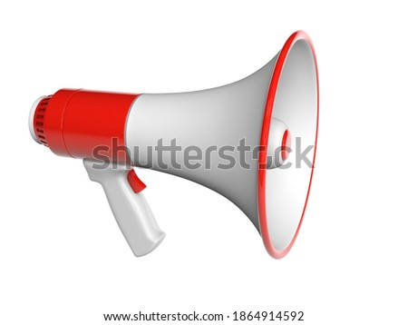 Megaphone loudspeaker. isolated on white background with clipping path. 3d render.