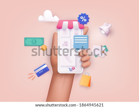 3D Web Vector Illustrations. Hand holding mobile smart phone with shopp app. Online shopping concept. Royalty-Free Stock Photo #1864945621