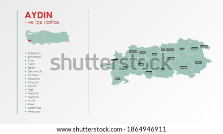 Aydın City and Districts Illustration Vector Map Royalty-Free Stock Photo #1864946911