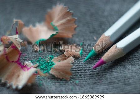 Sharpened color pencils macro photografy