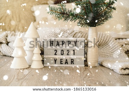 Happy New Years 2021. Christmas background with fir tree and Christmas decorations. Christmas holiday celebration. New Year concept. #1865133016