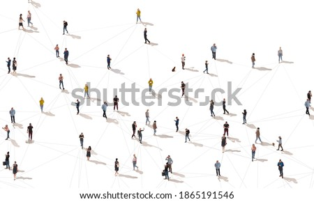 Aerial view of crowd people connected by lines, social media and communication concept. Top view of men and women isolated on white background with shadows. Staying online, internet, technologies. Royalty-Free Stock Photo #1865191546
