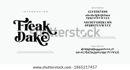 Abstract Fashion font alphabet. Minimal modern urban fonts for logo, brand etc. Typography typeface uppercase lowercase and number. vector illustration Royalty-Free Stock Photo #1865217457