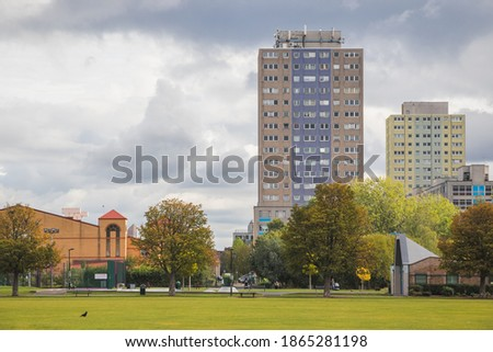 Broadwater Farm estate, a high-density social housing in Tottenham area, North London see from Lordship Recreation Ground Royalty-Free Stock Photo #1865281198