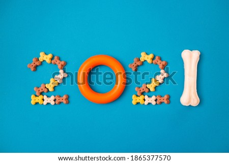 New year greeting card concept. Shape 2021 with doggy accessories on blue background. Canine background. Top view, flat lay Royalty-Free Stock Photo #1865377570