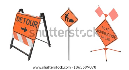 Construction Work Sign isolated on white background. 3D Rendering