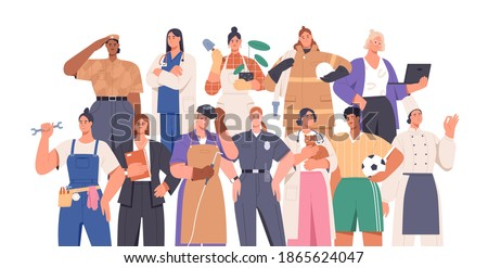 Crowd of smart and strong women of different professions: female soldier, firefighter, police officer, businesswoman. Career equality concept. Flat vector illustration isolated on white Royalty-Free Stock Photo #1865624047