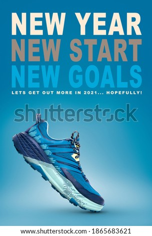 New year, new start business and health resolution concept for 2021. Blue trainer on a blue background.