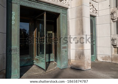 Entrance of Detroit Masonic Temple in Detroit , USA