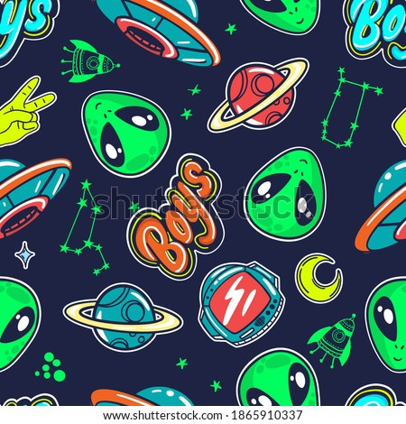 Bright seamless space sticker pattern for boys, teenagers, fashion textile, clothes, wrapping paper. Repeated print with  space  Royalty-Free Stock Photo #1865910337
