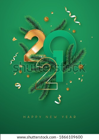 Happy New Year 2021 greeting card illustration. Luxury 3d gold number date sign on green background with golden party confetti and christmas pine tree branch. Elegant holiday event invitation design. #1866109600