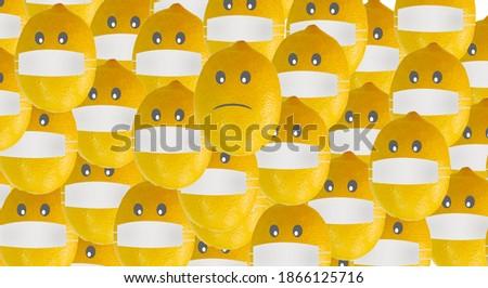 cartoon lemon wearing a protective mask