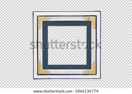 Wooden marine themed photo frame on a transparent background. Design element. Frame mockup for interior.