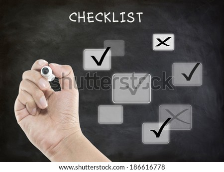 Evaluation checklist board with true and false #186616778