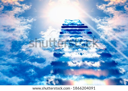 Stairs to Heaven. Heaven's gate. Religious background. Steps to the sky. Royalty-Free Stock Photo #1866204091